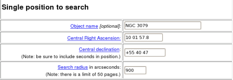 Example inputs to the NVSS catalog browser to look for neighboring radio sources of NGC 3079.