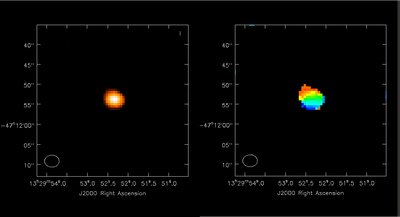 Simulation of M51 CO 1-0 at z = 0.3. Left: integrated intensity map. Right: (marginally resolved) velocity field.